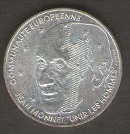 FRANCIA 100 FRANCS 1992 JEAN MONNET AG SILVER - Commemorative