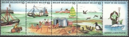 Belgium 1988 Mermaid Seabirds Ships Ship Sea Life Duck Ducks Beach Strip Stamps MNH Michel 2325-2328 - Entenvögel