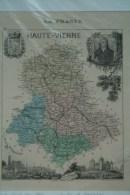87 - CARTE GEOGRAPHIQUE HAUTE VIENNE- DRESSEE  PAR A. VUILLEMIN GEOGRAPHE-1860- LIMOGES-SAINT JUNIEN-BELLAC-ROCHECHOUART - Carte Geographique