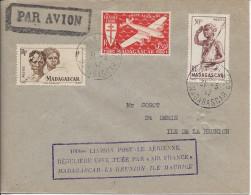 """Tananarive - Saint Denis Lettre Avec Cachet Rect Violet """" 100eme Liaison Postale Aérienne Régulière ... - Airmail"""