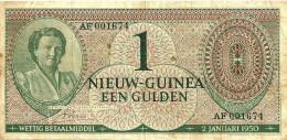 NETHERLANDS NEW GUINEA 1 GULDEN GREEN QUEEN HEAD FRONT MOTIF BACK  P.4 DATED 02-01-1950 AVF READ DESCRIPTION !! - Nouvelle Guinée Néerlandaise
