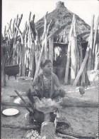 Namibia, Danish PPC Folkekirkens Nødhjælp / Spejderhjælpen Making A Meal At The Fire (2 Scans) - Namibia