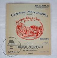 Old 1953 France Advertising Brochure/ Leaflet - Conserves Morvandelles - Les Grands Hotels De La Route Paris - Nice - Otros