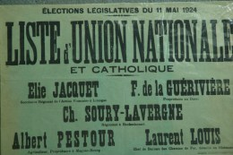 87 - AFFICHE ELECTIONS LEGISLATIVES 1924- JAQUET-GUERIVIERE LE DORAT-PESTOUR MAGNAC BOURG-SOURY LAVERGNE ROCHECHOUART-