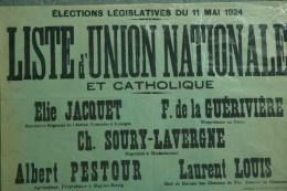 87 - AFFICHE ELECTIONS LEGISLATIVES 1924- JAQUET-GUERIVIERE LE DORAT-PESTOUR MAGNAC BOURG-SOURY LAVERGNE ROCHECHOUART- - Afiches