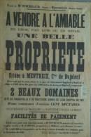 87 - EYMOUTIERS - RARE AFFICHE ME FOURIAUD- NOTAIRE- VENTE PROPRIETE MENTHEIX BUJALEUF- BARONNE RAOUL DE BONY- LADURE