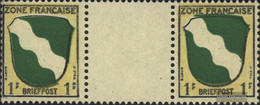 Franz. Zone-community. Issue. 1ZW Between Steg Couple Unmounted Mint / Never Hinged 1945 Crest - French Zone