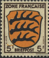 Franz. Zone-community. Issue. 3III, Frame And Lettering Damaged (Field 63) Unmounted Mint / Never Hinged 1945 Crest - Zone Française
