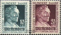 Franz. Zone-Württemberg 47-48 (complete.issue.) With Hinge 1949 Gustav Werner - Zone Française
