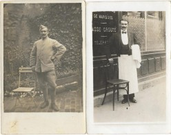 Soldat Du 92° R.I. Clermont Ferrand - 2 Cartes Photo  En Tenue De Poilu Et En Serveur De Café - Guerre 1914-18
