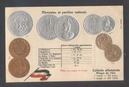 *Colonie Allemande Afrique De L'Est. Monnaies Et Pavillon National* Sin Datos. Nueva. - Cartes Postales