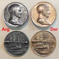 Ancienne Broche Commémorative : NAPOLEON Empereur Et Roi Métal Argenté - Insignes & Rubans