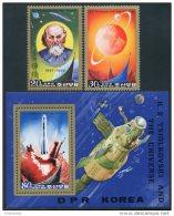 Korea 1984, SC #2410-12, Perf 2V+S/S, Tsiolkovski & Universe - Space