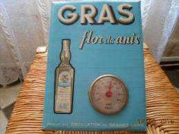 GLACOIDE/THERMOMETRE  PUBLICITAIRE  GRAS Flor De Anis - Advertising (Porcelain) Signs