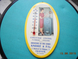 GLACOIDE/THERMOMETRE  PUBLICITAIRE  ANDRE & FILS  Chauffage Central  Plomberie Zinguerie  TROYES - Non Classés