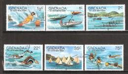 GRENADA ,1977 :  6 Timbres: WATER SPORTS :Jet Ski, Skiing, Water Polo Regata,Swimming / Natation , Aviron/ Row Boat Race