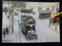 POSTAL 1922 Muy Animada AUTOBUS Y TRANVIA Especial FOOT BALL  Calle PROVENZA / ARIBAU - Autobús & Autocar