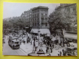 POSTAL 1947 TRANVIA POR LA RAMBLAS De BCN Animada - Tranvía