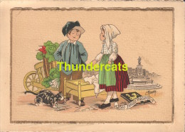 CARTE DOUBLE ILLUSTRATEUR E. MAUDY FILLE GARCON CHAT ** ARTIST SIGNED CARD BOY GIRL CAT MAUDY - Mededelingen