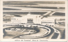 EDIFICIO DE LA TERMINAL AEREA DE LIMATAMBO PEROU PERU CPA DOS DIVISE UNCIRCULATED 1950 EDITOR LEONAR TBE