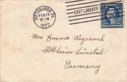 USA 1922 - 5 C Auf Kleinem Brief Von Pittsburgh Nach Stöckheim Leinetal - Vereinigte Staaten