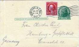 USA 1937 - 1 C Ganzsache + 2 C Zusatzfr.auf Pk Von New York N. Hamburg - Vereinigte Staaten