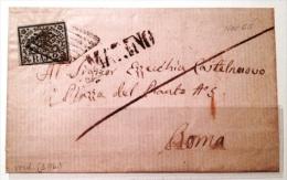 Stato Pontificio - Lettera - Tipi Del 1852 - Sass. 3Ab - 2 Baj Bianco Azzurrastro - Griglia Ambulanza Roma Ceprano E Mar - Stato Pontificio