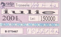 Romania  ,  2001 ,  Bus  and Tram  abonament  ticket , used