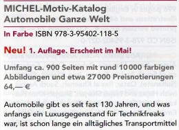 MlCHEL Motiv Katalog Automobile Ganze Welt 2015 Neu 64€ Automotiv Car Topic Stamps Catalogue The World 978-3-95402-118-5 - Literatur & DVD