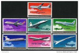 Korea 1978, SC #1743-49, Specimen, Passengers Airplanes - Montgolfier