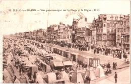 CPA 59 (Nord) Dunkerque/Malo-les-Bains - Vue Panoramique Sur La Plage Et La Digue - Pub Vêtements Sigrand - Malo Les Bains