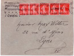 1936- Enveloppe Ouverte D'imprimés Affr. Bande De 5  Semeuse 3 C. N°278 A - Marcofilia (sobres)