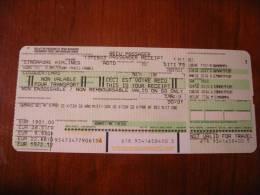 Reçu Passager (PASSENGER RECEIPT) SINGAPORE AIRLINES (KUONI / AMSTERDAM / PARIS CDG) - Europe