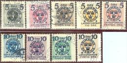 Schweden 1916 Mi#97-105 (ohne 1 Krone) Landsturm Auf Portomarken - Oblitérés