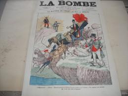 """- JOURNAL """" LA BOMBE """" , 9 Mars 1890 Illustré Par PAUL De SEMANT - 500mm X 330mm Bon état.. - Documenti Storici"""