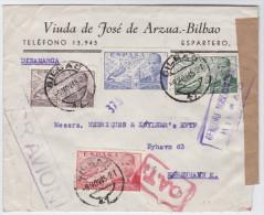 "Spanien 1945-11-09 Bilbao ""O.A.T."" Zensur Luftpost Brief Nach Kopenhagen DK - 1931-Aujourd'hui: II. République - ....Juan Carlos I"