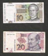 CROATIA - NATIONAL BANK - 10 & 20 KUNA (2001) - LOT Of 2 DIFFERENT BANKNOTES - Croazia