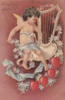Belle CPA  ANGE ANGELOT Cupidon AMOUR  COEURS  Lyre Et Myosotis  Timbré 1904 - Anges