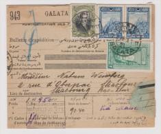 TÜRKEI 1928-03-05 Paketkarte Von Galata Nach Strassburg - 1921-... Republic