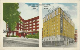 ETATS UNIS  - PUBLICITE -   THE NEW HUNGERFORD HOTELS - PORTLAND  ORE.  - SEATTLE  WASH. - Portland