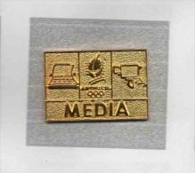 Pin´s  Doré  Sport  J.O  ALBERTVILLE  1992  Avec  MEDIA  Verso  COJO  1991 - Juegos Olímpicos