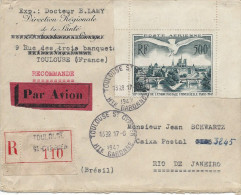 PA 20, 500fr vert Oblit Toulouse seul sur lettre par avion de Rio de Janeiro