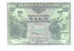 SPAIN 1906 - REPLICA REPRODUCCION - ALEGORIAS  - ESCUDO ESPAÑA  PAPER BILL OF 100 PTAS ISSUED JUN 30, 1906, RE 83 3 PER - [ 8] Ficticios & Especimenes