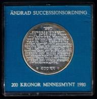 Sweden - 200 Kronor 1980 - Km#860 - 27 Gr. Silver - Swedish Royal Succession Law - Suède