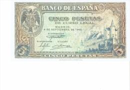 SPAIN 1940- REPLICA REPRODUCCION -ALCAZAR DE SEGOVIA - ESCUDO PAPER BILL OF 5 PTAS ISSUED SEP 4, 1940, RE35.2 PERFECT - [ 8] Ficticios & Especimenes