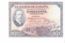 SPAIN 1927- REPLICA REPRODUCCION -ALFONSO XIII-PALACIO REAL MADRID- FUNDACION BUENOS AIRES  PAPER BILL OF 50 PTAS ISSUE - [ 8] Ficticios & Especimenes