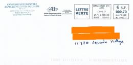 EMA ML 093317 Carcassonne CTC Aude 11 + Flamme Union Départementale Des Sapeurs Pompiers De L'Aude - Firemen