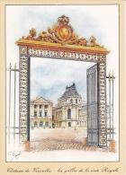 CP VERSAILLES 78 YVELINES  LE CHATEAU DESSIN MICHEL PERREARD GRILLES DE LA COUR ROYALE - Versailles (Château)