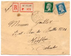 Pasteur 10c + 75c Sur Lettre Recommandée De 1924 - CaD Double-cercle De 'St Rémy Calvados' - Postmark Collection (Covers)