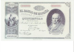 SPAIN 1874 - REPLICA REPRODUCCION - GOYA PAINTER  PAPER BILL OF 500 PTAS ISSUED JUL 1, 1874, RE 125 2 PERFECT - [ 8] Fakes & Specimens